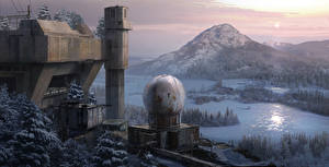 Фото Rise of the Tomb Raider Сибирь Зимние Горы Снегу Russian Base