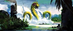 Обои Монстры Водопады Лодки Фэнтези фото