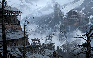 Фотографии Rise of the Tomb Raider Зима Гора Здания Сибирь Снег Деревня Из дерева