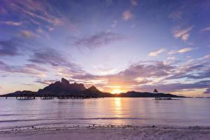 Фотографии Французская Полинезия Тропики Море Рассветы и закаты Пейзаж Небо Бора-Бора