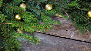 Фотография Праздники Рождество Ветвь Шар Доски