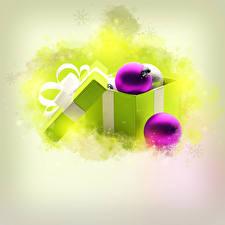 Картинки Праздники Новый год Коробка Шарики