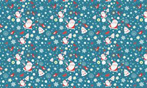 Картинки Новый год Текстура Векторная графика Дед Мороз Снежинки Елка