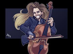 Картинки Музыкальные инструменты Мужчины Векторная графика Виолончель Fan ART Perttu Kivilaakso LarissaRivero Музыка