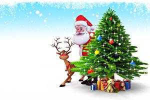 Обои Олени Новый год Праздники Дед Мороз Елка Подарки Борода фото