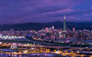 Обои Дома Китай Тайвань Тайбэй В ночи Мегаполиса