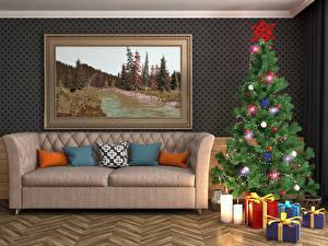 Картинка Праздники Новый год Интерьер Картина Дизайн Диван Новогодняя ёлка Подушки Подарки Шар 3D Графика