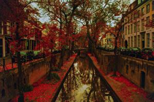 Обои Нидерланды Осень Дома Утрехт Водный канал Улица Деревья Листья Города фото