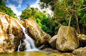 Обои Таиланд Водопады Камни Hin Lad Waterfall Koh Samui Природа фото