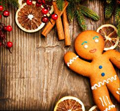 Фото Рождество Печенье Корица Шаблон поздравительной открытки Продукты питания