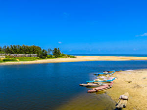 Фото Тропики Побережье Лодки Небо Пляж Природа