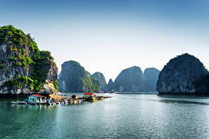 Обои Вьетнам Тропики Пирсы Море Утес Halong Bay