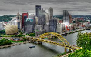 Обои США Дома Реки Мосты Небоскребы Питтсбург HDR Города фото