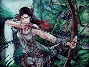 Картинка Лучники Рисованные Tomb Raider 2013 Лара Крофт Майка Стрела Лук оружие Игры Девушки