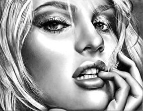 Обои Рисованные Candice Swanepoel Пальцы Черно белое Лицо Взгляд Блондинка Девушки фото