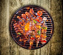 Фото Мясные продукты Шашлык Овощи Доски Еда
