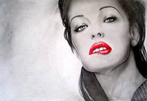 Фотографии Milla Jovovich Рисованные Черно белое Лицо Смотрит Знаменитости