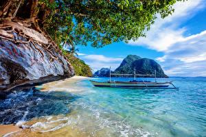 Обои Филиппины Тропики Побережье Лодки Море Скала Природа фото