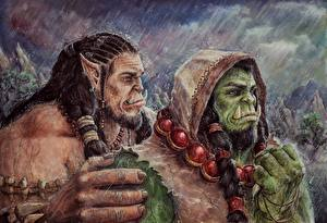 Варкрафт 2016 Орки Воители Дождь Рисованные Двое Капюшон Durotan, Thrall Фильмы