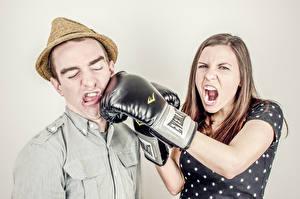 Фото Бокс Мужчины Шляпа Крик Перчатки Девушки