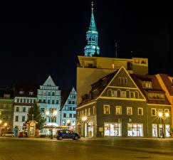 Обои Германия Здания Улиц Ночные Уличные фонари Zwickau Города
