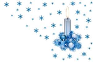 Картинка Свечи Рождество Векторная графика Снежинки Шар