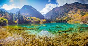 Обои Китай Парки Горы Озеро Леса Осень Пейзаж Цзючжайгоу парк Valley Природа фото