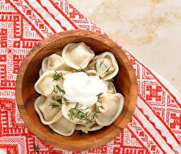 Картинки Вторые блюда Укроп Пельмени Еда