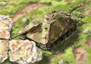 Обои САУ Рисованные Немецкий Hetzer Армия фото
