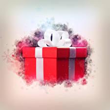Картинка Праздники Новый год Подарки Бантик Коробка