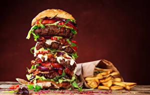 Картинки Гамбургер Быстрое питание Картофель фри Булочки Еда