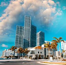 Обои США Небоскребы Дома Майами Пальмы Облака Улица Города фото