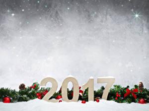Картинка Праздники Рождество 2017 Ветвь Шарики Шишки Шаблон поздравительной открытки