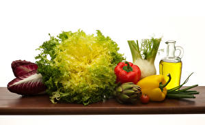 Картинки Овощи Перец Капуста Белом фоне Кувшин Масло Еда