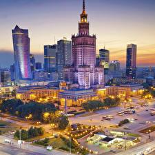 Обои Варшава Польша Дома Вечер Городская площадь Города фото