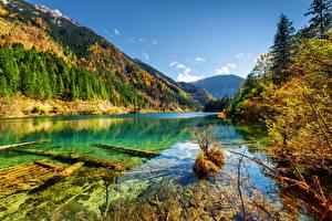 Картинка Китай Парки Гора Леса Осенние Пейзаж Цзючжайгоу парк Valley