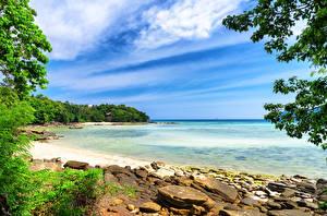 Картинка Таиланд Тропики Побережье Камни Небо Phi-phi island