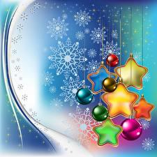 Фото Новый год Праздники Векторная графика Снежинки Шар Звездочки
