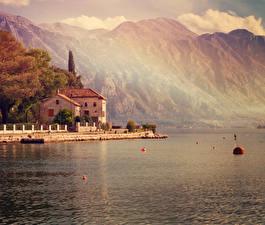 Обои Черногория Море Горы Дома Побережье Kotor bay Города фото