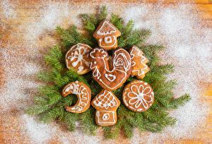 Фотографии Рождество Печенье Сахарная пудра Ветвь Дизайн Пища