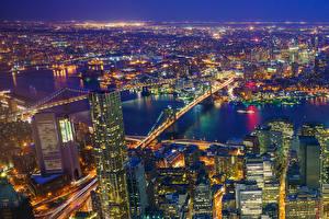 Обои Штаты Дома Река Мосты Нью-Йорк Манхэттен Мегаполиса В ночи Сверху Города