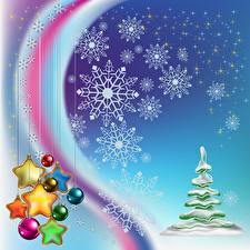 Обои Новый год Праздники Векторная графика Снежинки Шарики Звездочки фото