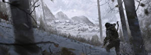 Обои Сибирь Rise of the Tomb Raider Зима Лара Крофт Снег Деревья Gulag on Plateau Игры Девушки фото