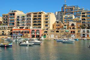 Фотографии Мальта Дома Причалы Яхта Катера Saint Julian's Города