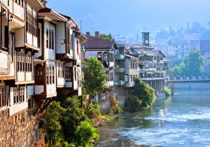 Фото Турция Здания Река Amasya Города
