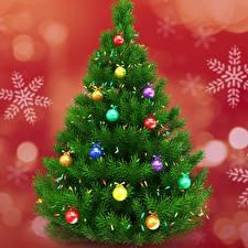 Картинка Праздники Рождество Новогодняя ёлка Шар Снежинки Гирлянда