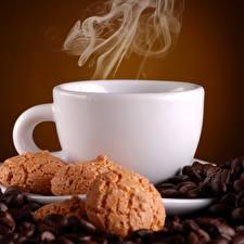 Фото Кофе Печенье Чашка Дым Зерна Пища