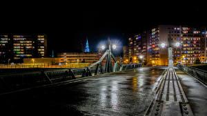 Картинка Германия Дома Мосты Ночью Уличные фонари Zwickau Города