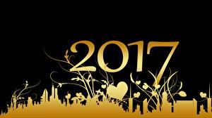 Картинки Новый год Растения Дома Праздники Силуэта Сердце Золотые 2017