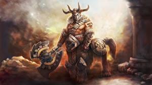 Обои Кентавры DOTA 2 Centaur Warrunner Боевые топоры / Секиры Шлем Рога Доспехи Игры Фэнтези фото